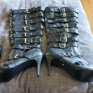 Diba Black Buckle tall boot